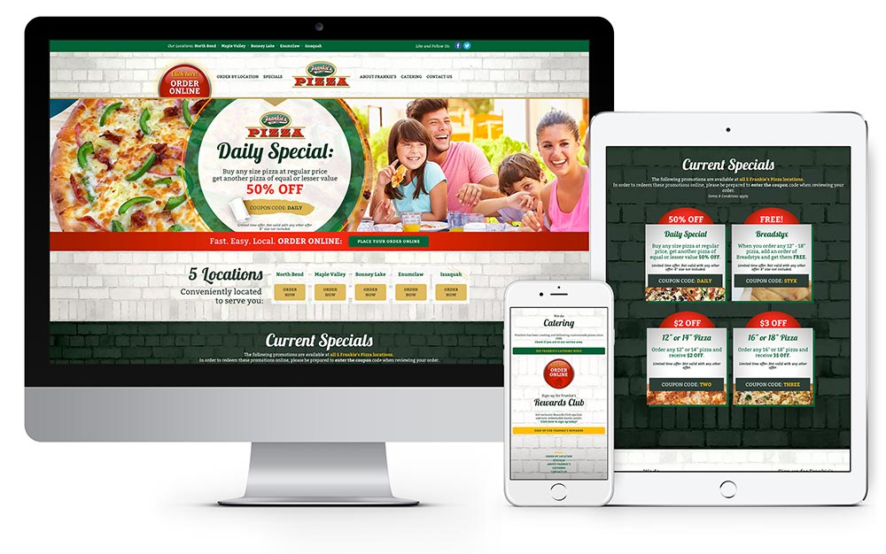 Frankie's Pizza website design