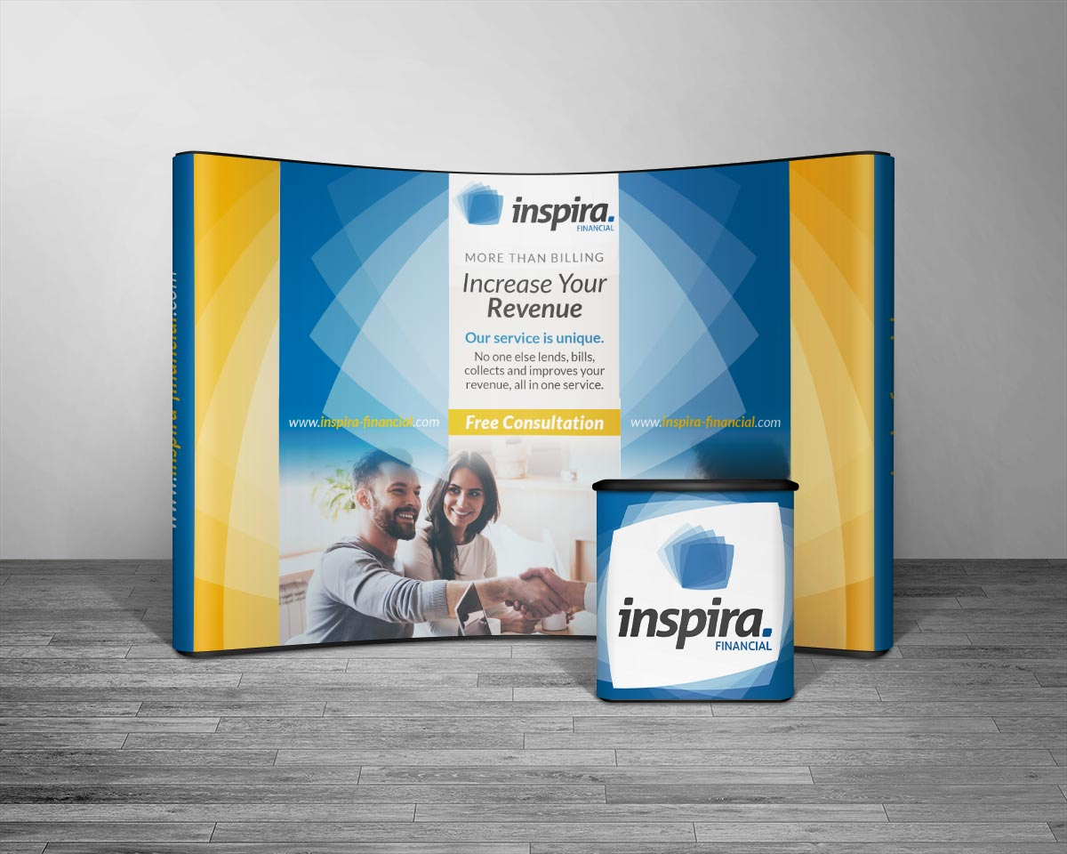 Inspira single panel trade show booth