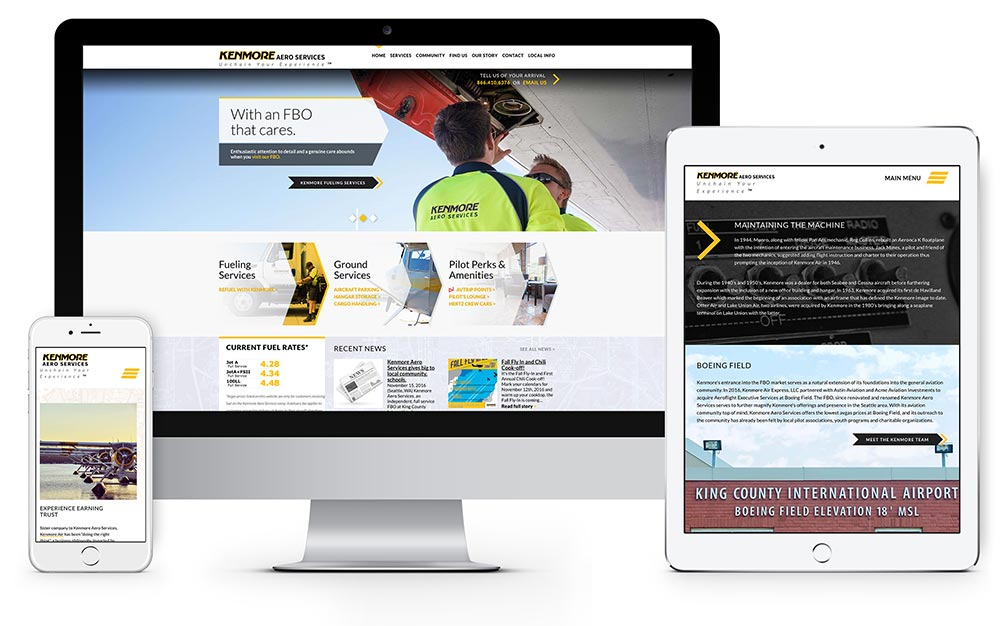 Kenmore Aero Services website design