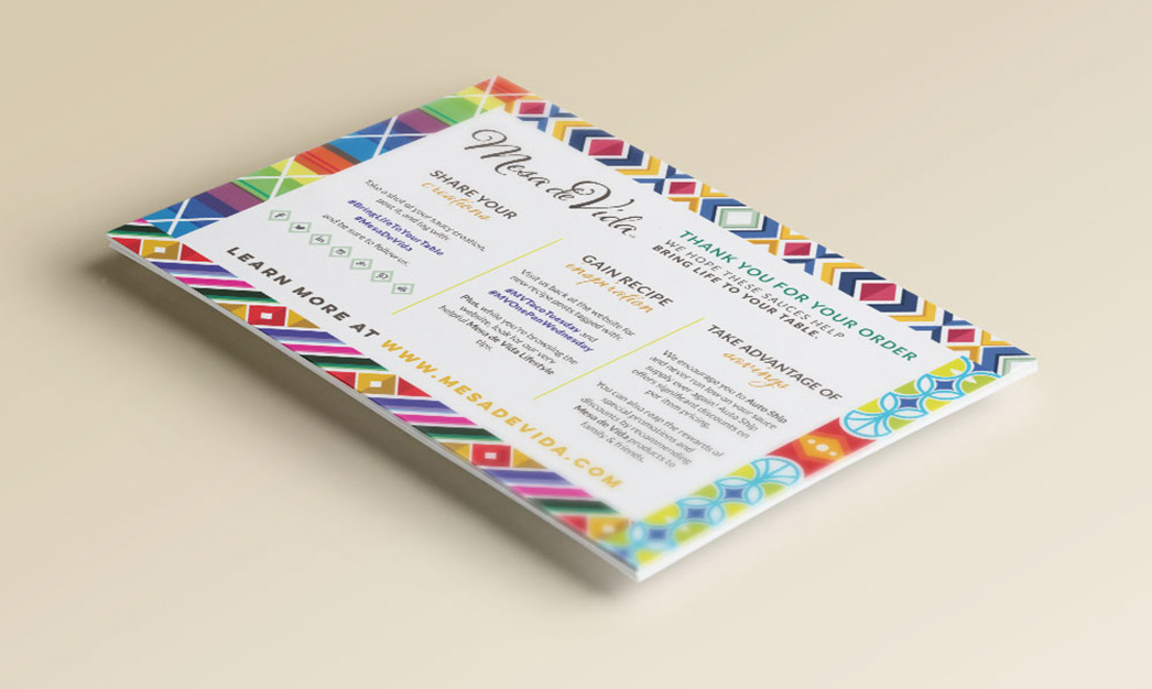 Mesa de Vida packing card