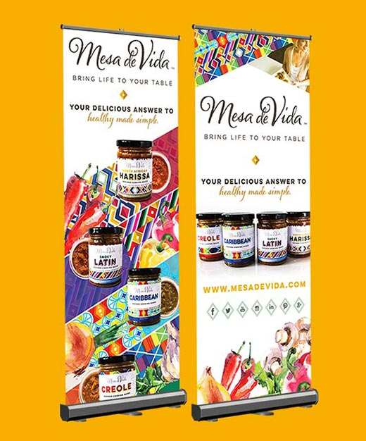 Mesa de Vida twin pop-up banners