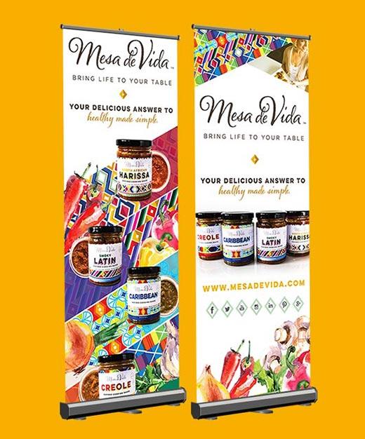 Mesa de Vida twin pop-up banners