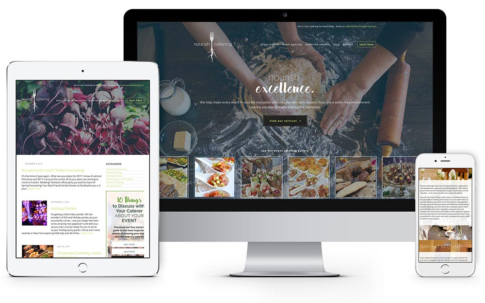 Nourish Catering website design