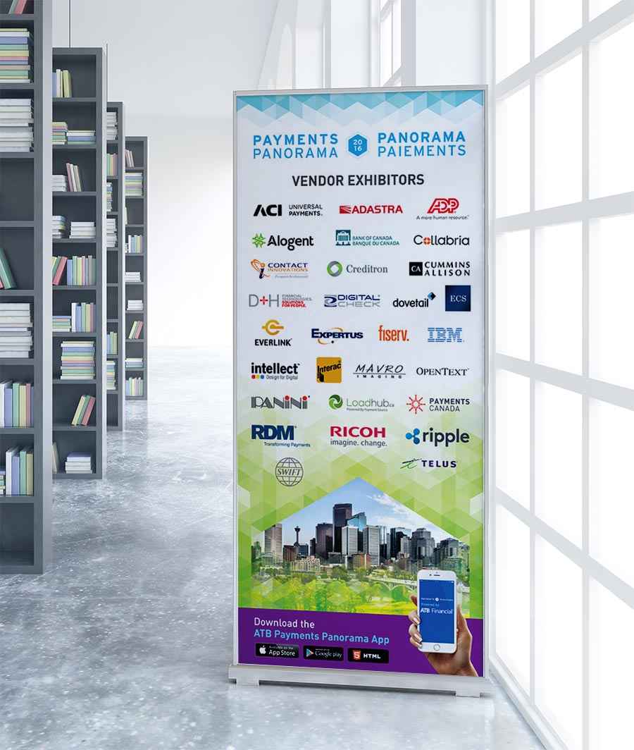 Payments Panorama conference vendor exhibitors pop-up banner