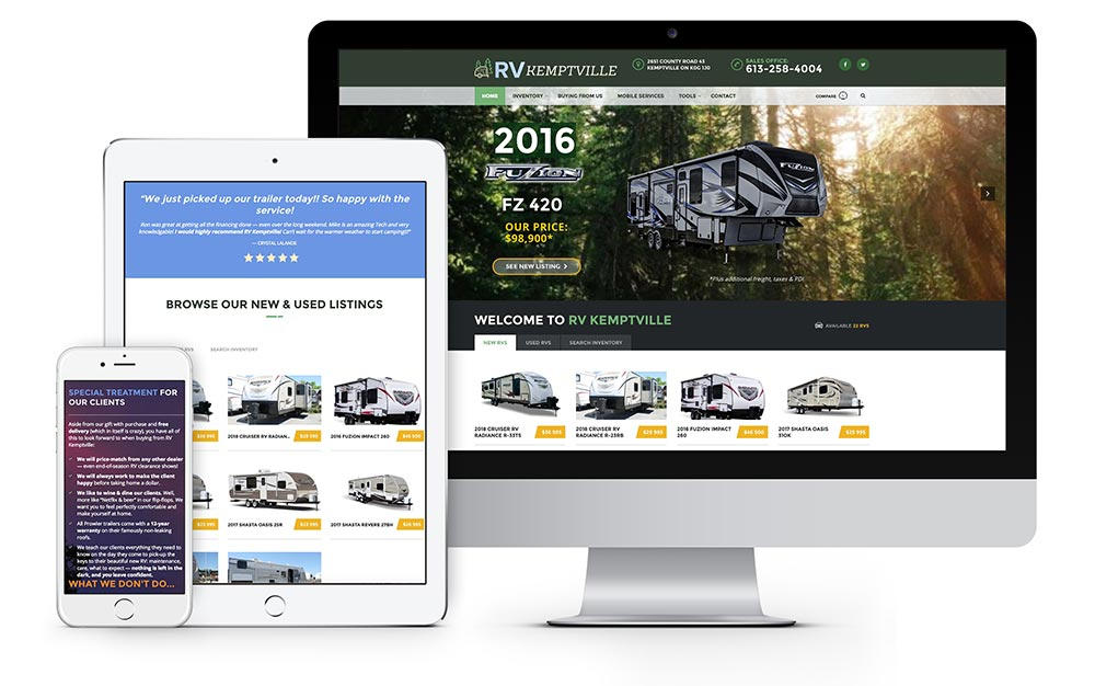 RV Kemptville website redesign RV trailer sales inventory listings website