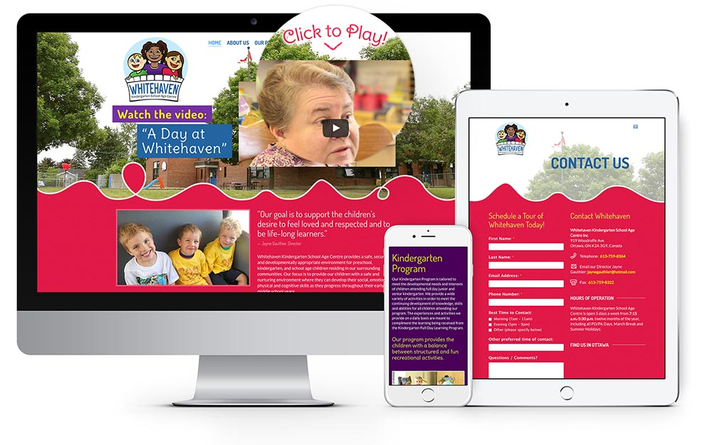 Whitehaven Childcare Centre website design