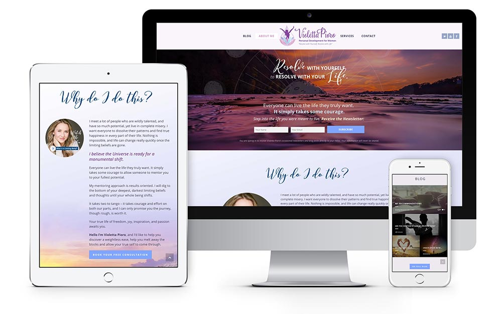Violetta Pioro custom website design and development
