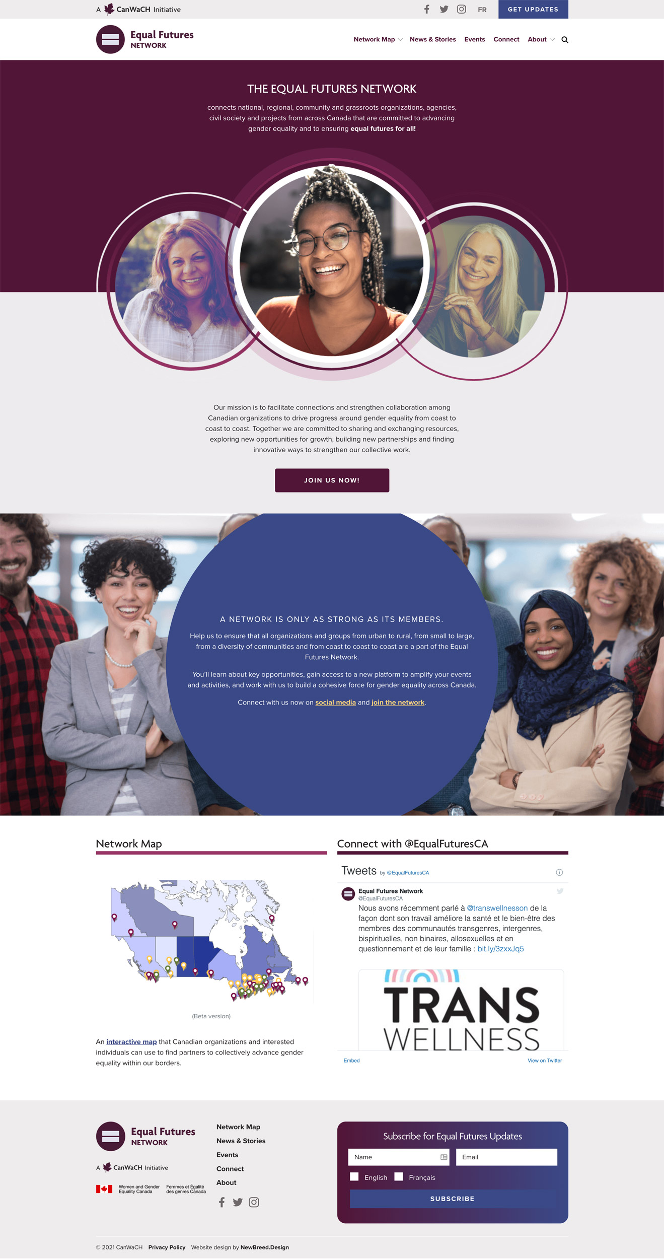 Equal Futures Network home page design