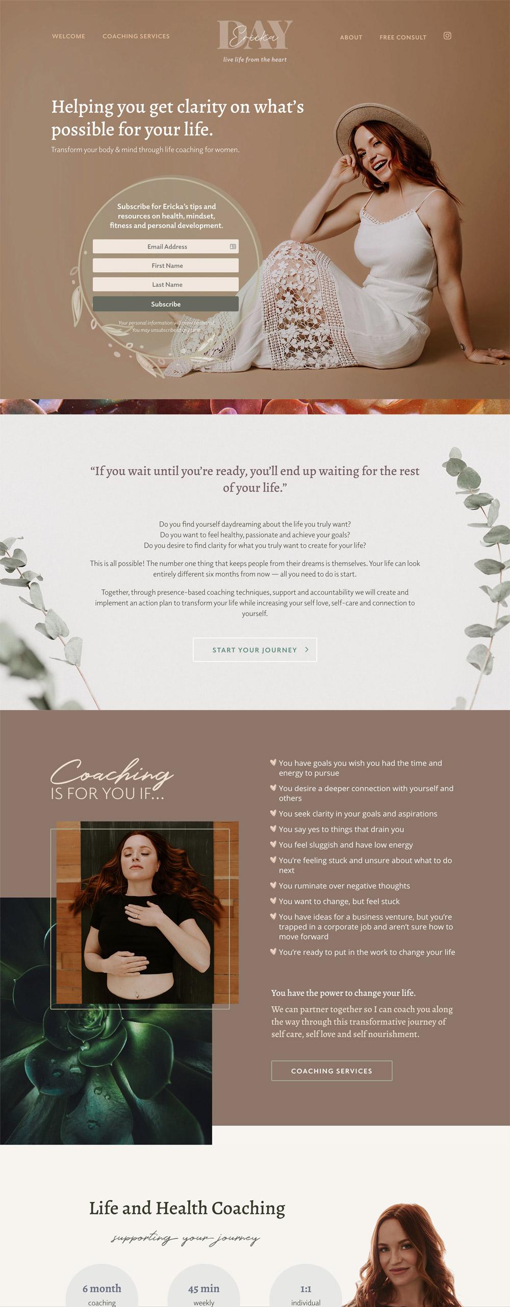 Ericka Day Coaching full website design desktop