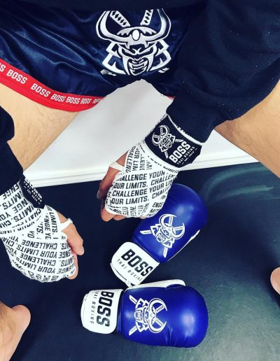 Boss branded Thai shorts, hand wraps and boxing gloves